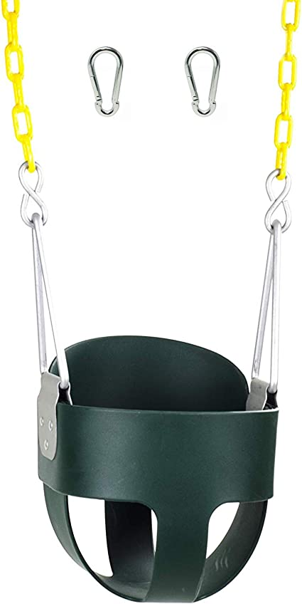 High Back Full Bucket Toddler Swing Seat With Plastic Coated Chains And Carabiners For Easy Install Green Toys Games