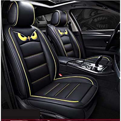 PTOWL Cartoon Full Set Universal Fit 5 Seats Car Surrounded Waterproof Leather Car Seat Covers Protector Adjustable Removable Auto Seat Cushions (Black-Yellow): Automotive
