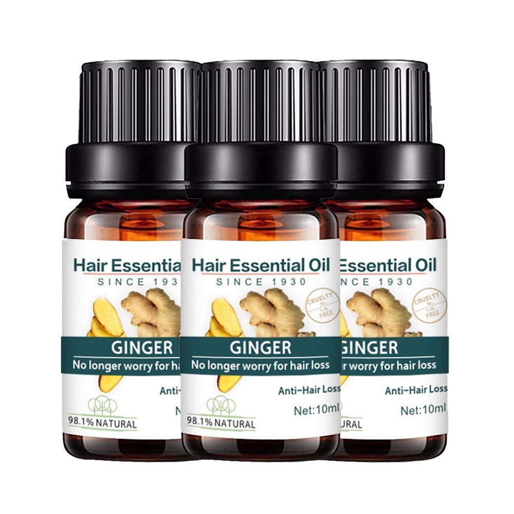 Kasien Hair Growth Liquid, Natural Ginger Hair Growth Essence liquid Fast Hair Growth Natural Hair Loss Treatment (3 Pcs)