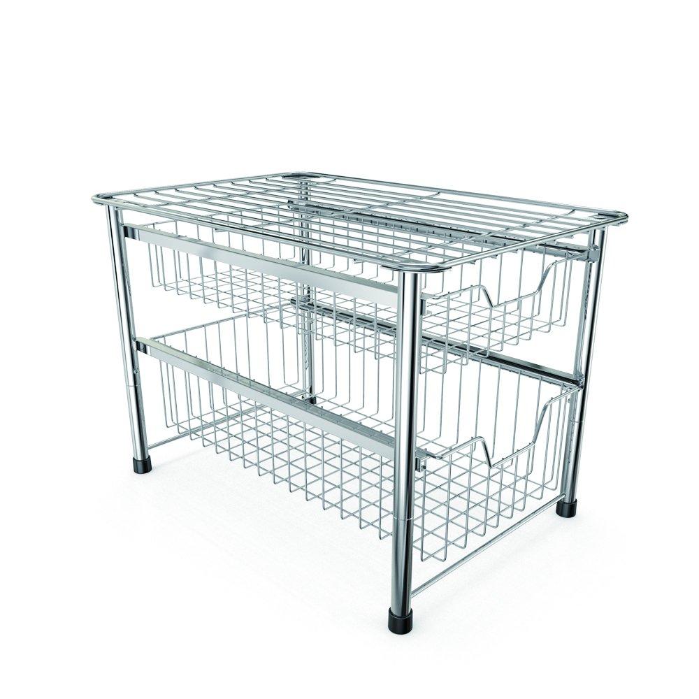 YOMYM Chrome 2 Tier Storage Drawer Rack Stackable Cabinet Sliding Basket