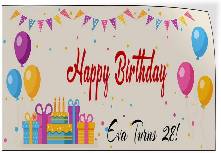 Custom Door Decals Vinyl Stickers Multiple Sizes Happy Birthday Girl Turns Age Lifestyle Happy Birthday Signs Outdoor Luggage /& Bumper Stickers for Cars Pink 58X38Inches 1 Sticker