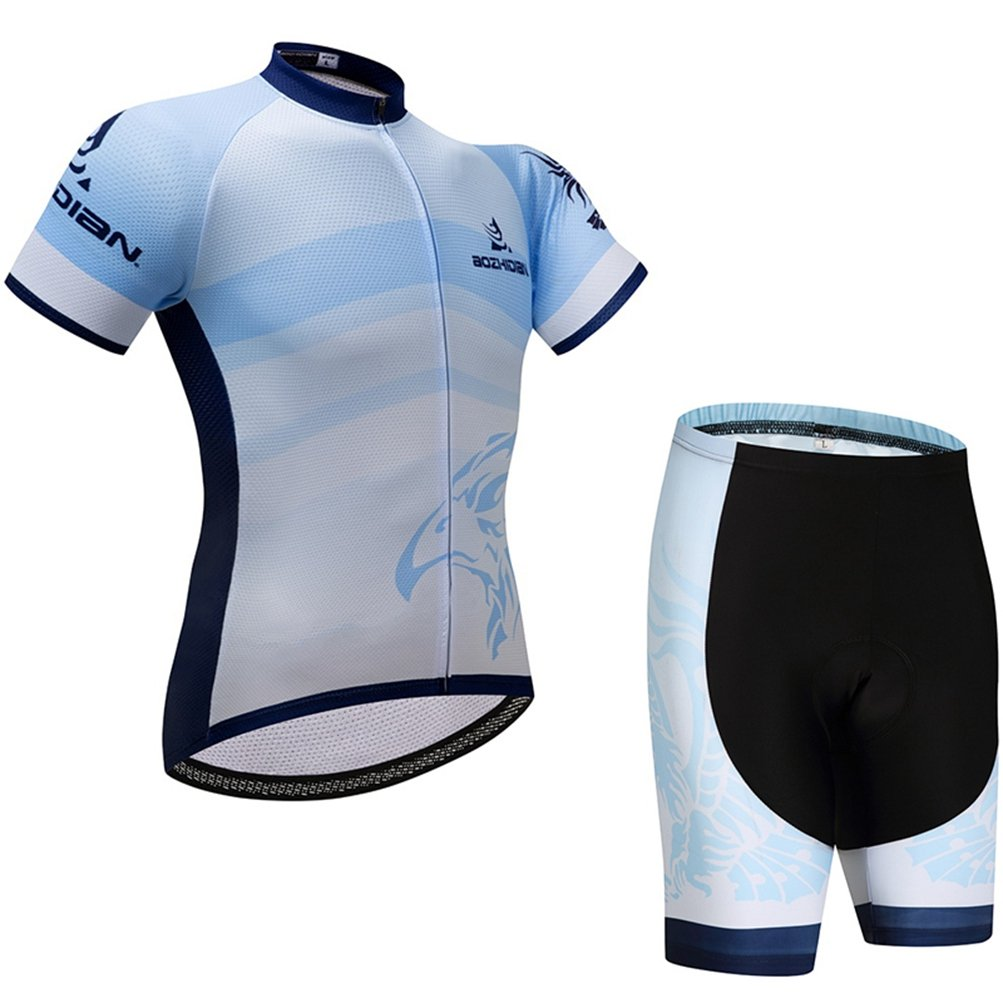 Uriah Women's Cycling Jersey Shorts Sets Short Sleeve Light Blue Size L(CN) by Uriah