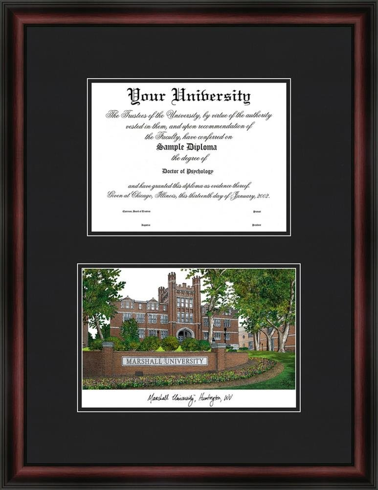 amazoncom marshall university diploma frame lithograph print sports outdoors - Ecu Diploma Frame