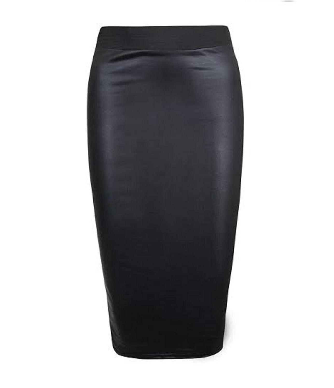 Womens Formal Wet Look PVC Ladies Sretchy Office Bodycon Midi Peplum Pencil Skirt Plus Size 8-24