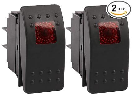 Sdootauto 2 Pcs Car Marine Led Toggle Switch Red Light Auto Rocker Switch 12v Dc 20 Amp 4 Pin