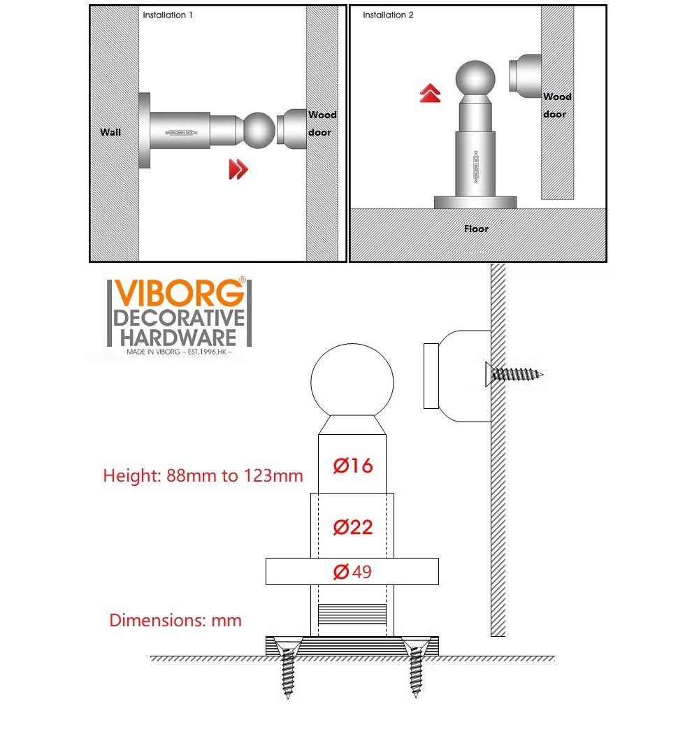 VIBORG Deluxe Solid Sus304 Stainless Steel Extra-Thick Casting Heavy Duty Adjustable Powerful Floor or Wall Mount Mounted Magnetic Doorstops Door Stopper Door Stop (1)