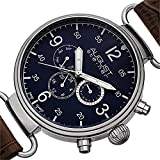 August Steiner Men's AS8131BU Silver Multifunction Swiss Quartz Watch with Blue Dial and Brown Leather Strap