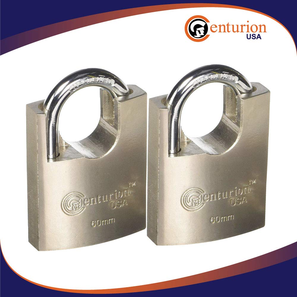 Centurion SIPL060 High Security Padlock, 60mm Armored Iron Body - Heavy Duty Padlock, Keyed Different (60mm Body (2) Pieces) by Centurion USA