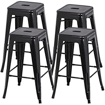 Yaheetech 30 Inches Metal Bar Stools High Backless Stools Bar Height Stools Patio Furniture Indoor/Outdoor Stackable Kitchen Stools Dining Chair Set of 4
