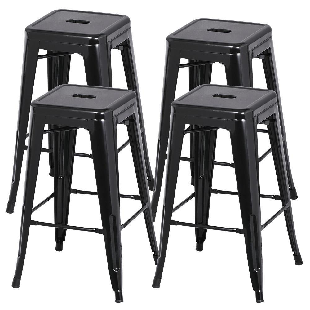 Yaheetech 30 Inches Metal Bar Stools High Backless Stools Bar Height Stools Patio Furniture Indoor/Outdoor Stackable Kitchen Stools Dining Chair Set of 4 by Yaheetech