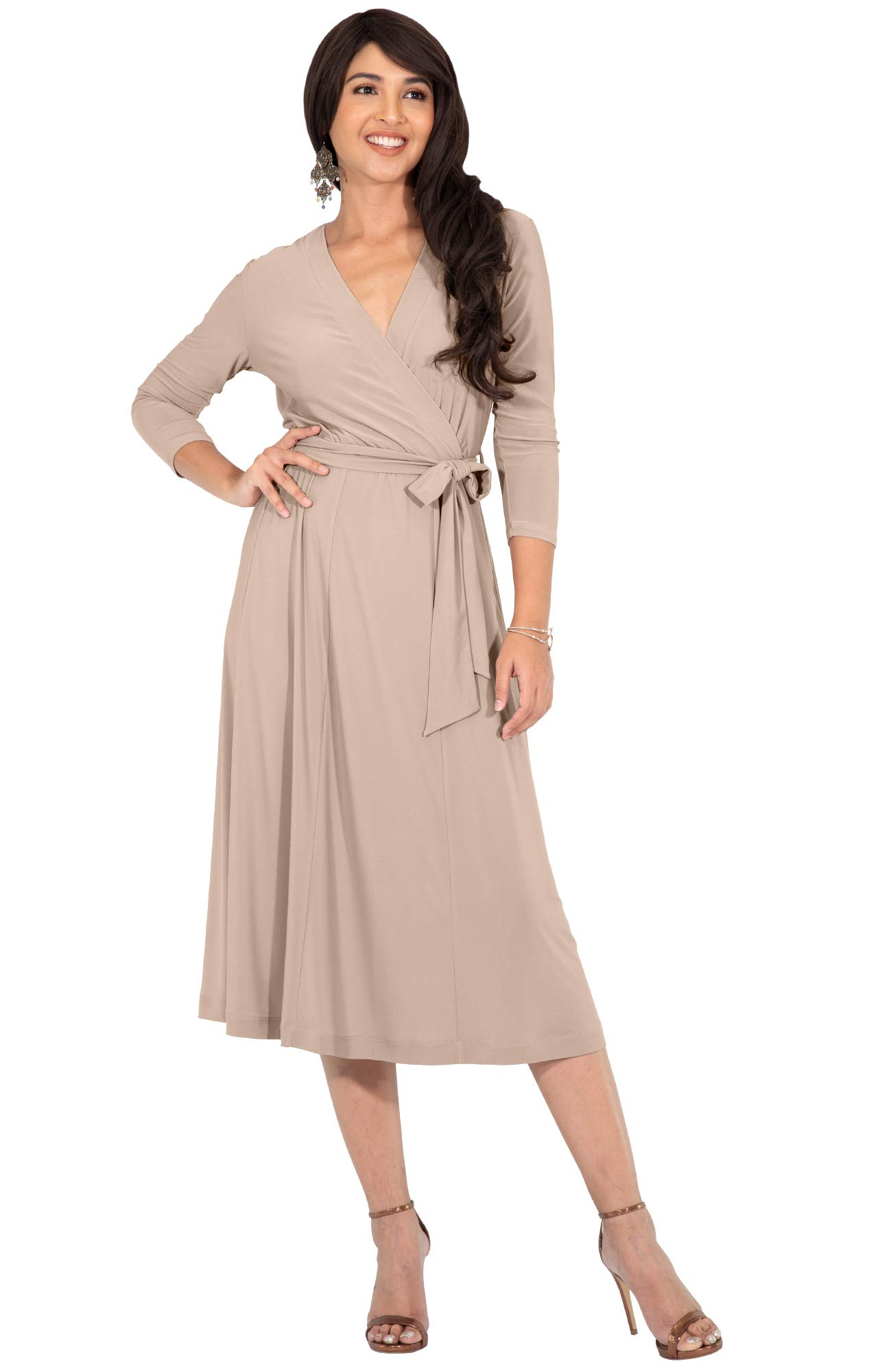 73c01808d916 KOH KOH Plus Size Womens V-Neck 3/4 Long Sleeve Flowy Knee Length Fall Bow  Wrap Modest Casual Simple Plain Loose Swing A-line Sun Day Work Office Midi  Dress ...