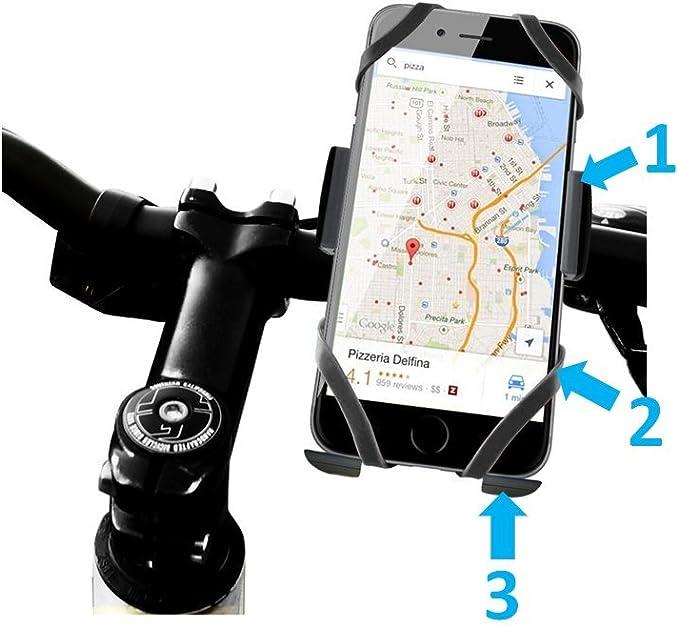 Soporte móvil moto, soporte móvil bicicleta motocicleta, soporte teléfono bicicleta universal extraseguro con triple sujeción para todo tipo de teléfonos móviles como ...