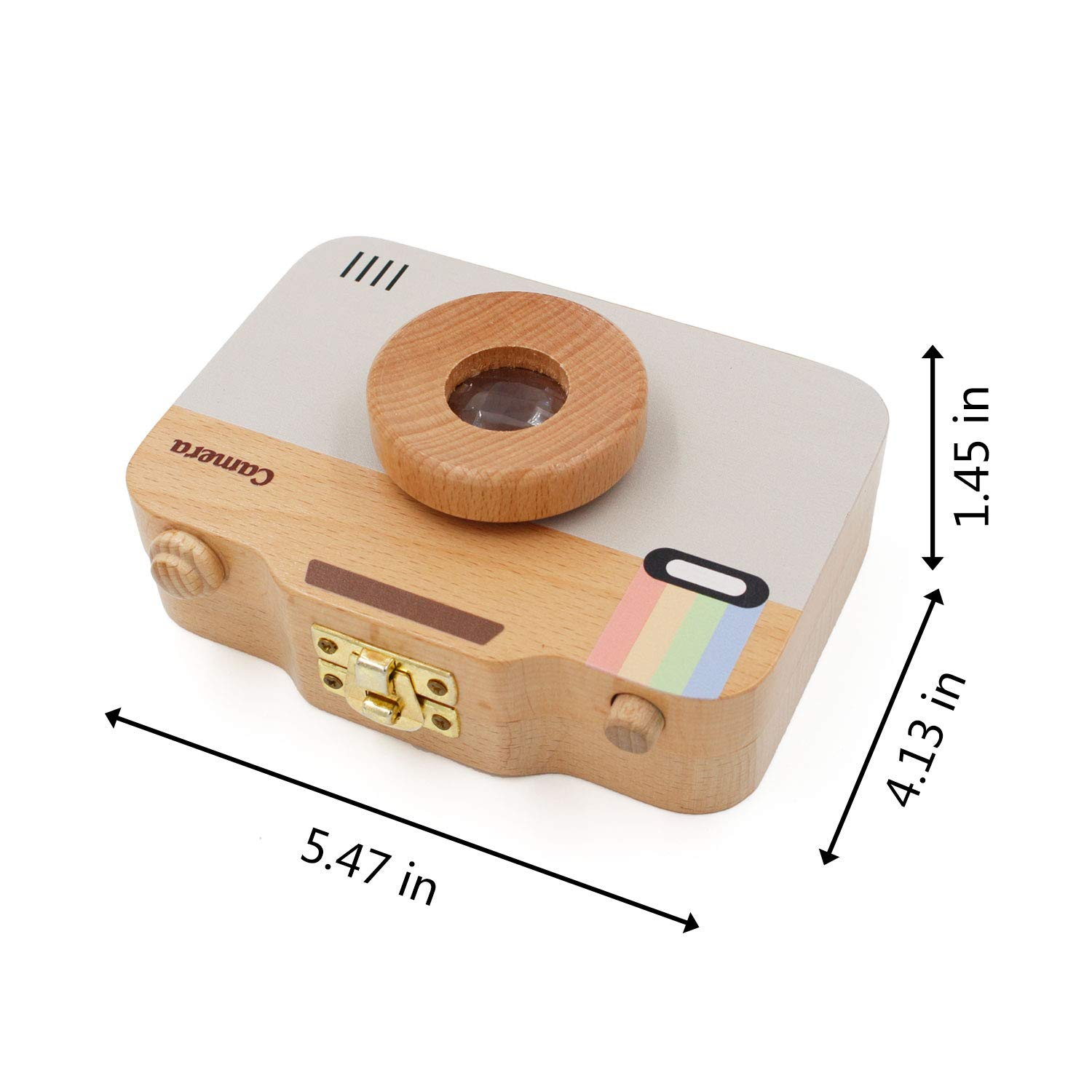 YOCEAN Baby Tooth Keepsake Box,Camera Shaped,Unique Baby Gifts Beige