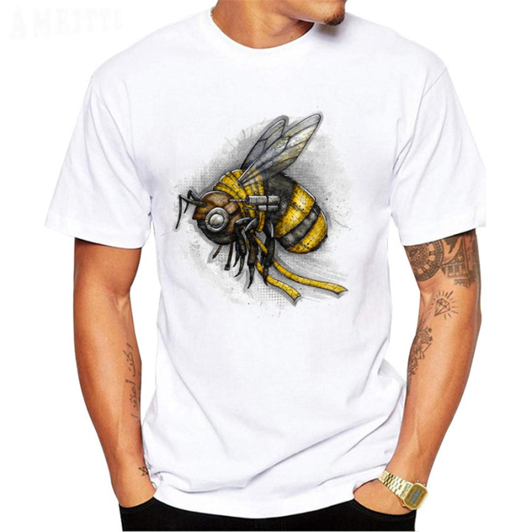 Errciry Wasp Bee Light Background T-Shirt Fashion Mens Short Sleeve Boy Tees
