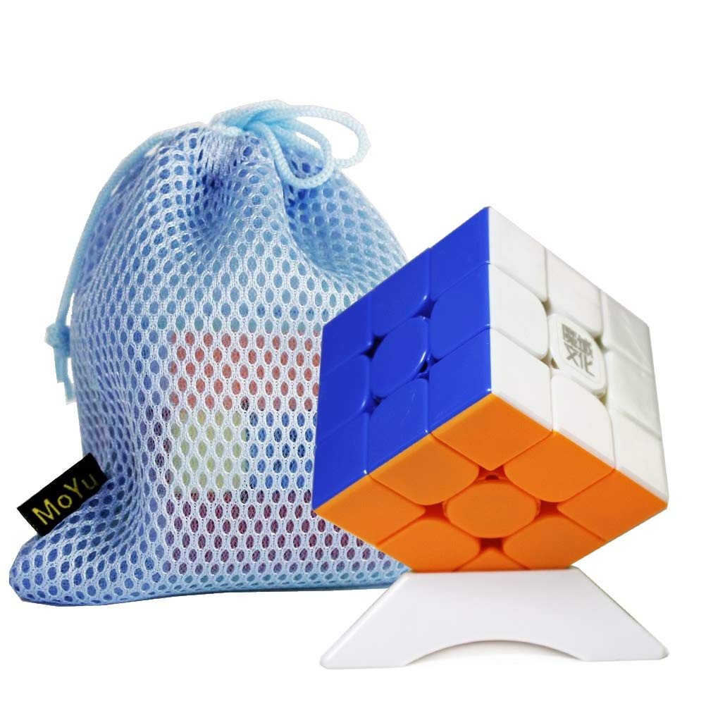 Stickerless OJIN MoYu WEILONG WR M 3x3 Weilong WR Enhanced WRM 3x3 Speed Cube Smooth Magic Cube Brain Teaser Puzzle Toys with One Cube Bag and One Cube Tripod (Stickerless)