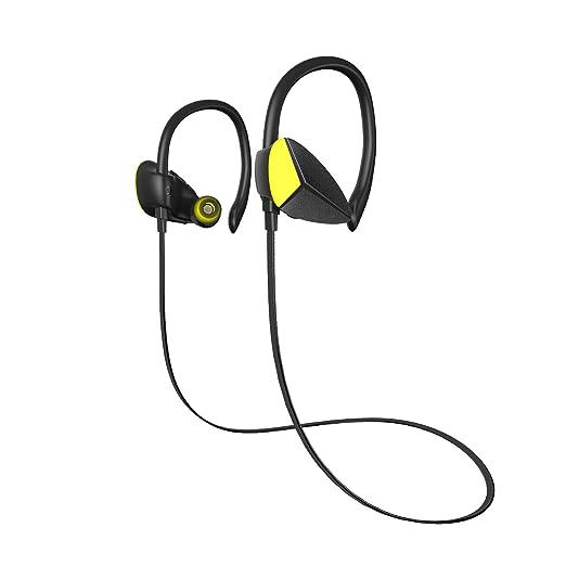 【タイムセール】Bluetooth ワイヤレス イヤホン 高音質・低遅延・重低音 CVC6.0 ノイズキャンセリング搭載 ハンズフリー通話・リモートコントロール・モニターヘッドホン IPX4防水仕様 2台同時に待受可能 1年保証 iPhone、Android各種対応 黄色