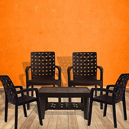 Italica Furniture - Armchair and Table Combo - Indoor and Outdoor Furniture Set(9408 & 9503, Brown, Set of 4 Chairs)