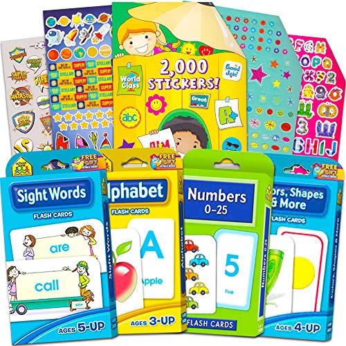 (School Zone Flash Cards Super Set for Toddler Kids -- 4 Packs (ABC Flash Cards, Numbers, Colors and Shapes, Sight Words, and Bonus 2000 Reward Stickers))