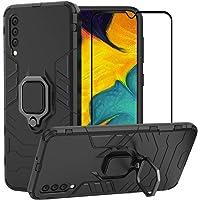 BestMX Funda para Samsung Galaxy A50 Case Protector de Pantalla de Cristal Templado, Híbrida Rugged Armor Choque Absorción Protección Dual Layer Bumper Carcasa con Pie De Apoyo, Negro