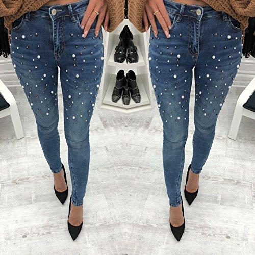 Cerniera Matita Lunghi Media Pantaloni Per Jeans Vita Streetwear Blu Denim Fit Donna Eleganti Skinny Slim Elastico A Comode In 7P6wO