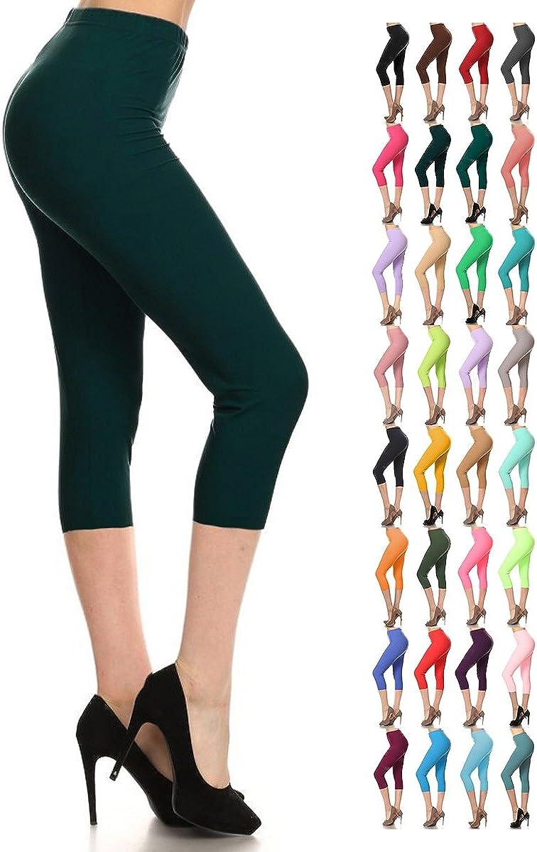37 Leggings Depot High Waisted Capri Leggings Soft /& Slim Colors