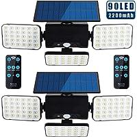 Luces solares para exteriores, luces LED con sensor de movimiento superbrillantes, 90 LED, 3 cabezales ajustables y panel solar, IP65 impermeable con mando a distancia [Pack de 2]