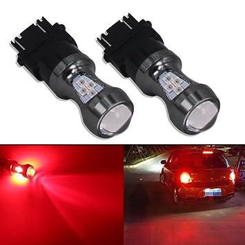 HSUN 3157 P27/7W T25 4157NA Bombillas LED, 16 piezas de chips LED SMD3030 3200LM bombillas extremadamente brillantes para luz de freno LED de coche ...