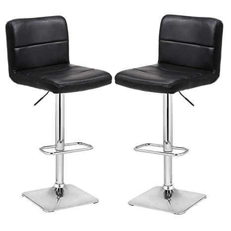 Tremendous Modern Swivel Barstools With Chrome Base Adjustable Counter Height Bar Stool Black Pu Leather Padded With Back Set Of 2 Hold Up To 350Lbs Inzonedesignstudio Interior Chair Design Inzonedesignstudiocom