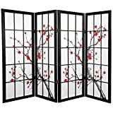 Oriental Furniture Unique Fireplace Screen, 48-Inch Low Cherry Blossom Shoji Screen Room Divider, Black 4 Panel