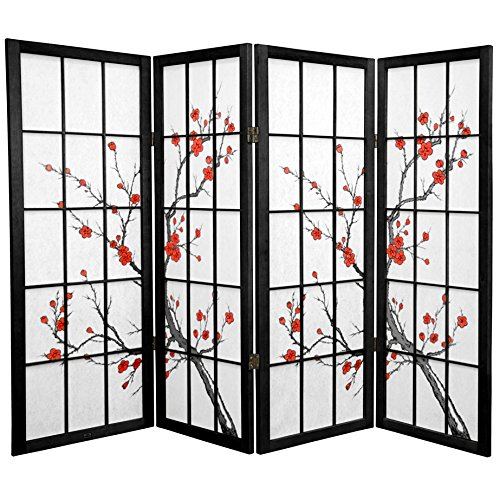 Oriental Furniture 4 ft. Tall Cherry Blossom Shoji Screen - Black - 4 Panels by ORIENTAL FURNITURE