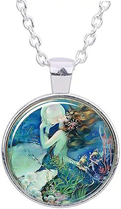 Green UV Beta Mermaid necklace pendant