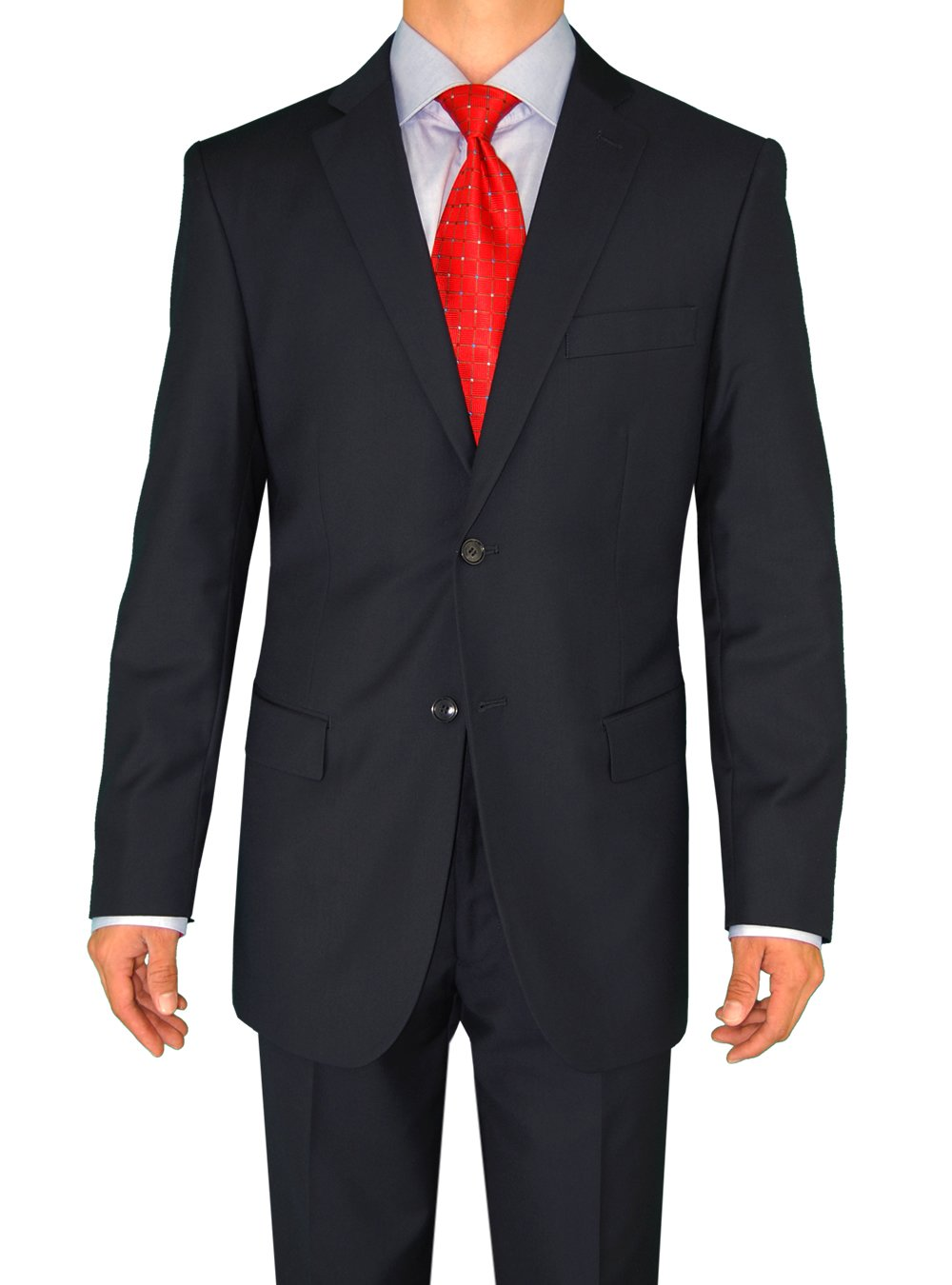DTI DARYA TRADING Fuomo Classic Men's 2 Button Business Suits 4 Colors (46 Long US/56L EU/W 40'',Navy)