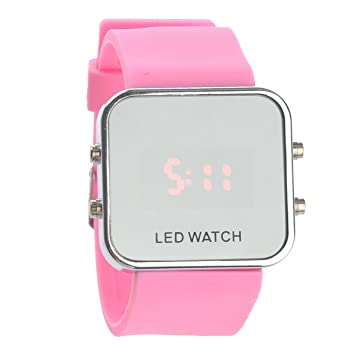 9efb57341905 UEETEK Reloj de pulsera Fashion Square espejo cara Unisex LED Digital rojo  con banda de silicona fecha (rosa)  Amazon.es  Deportes y aire libre
