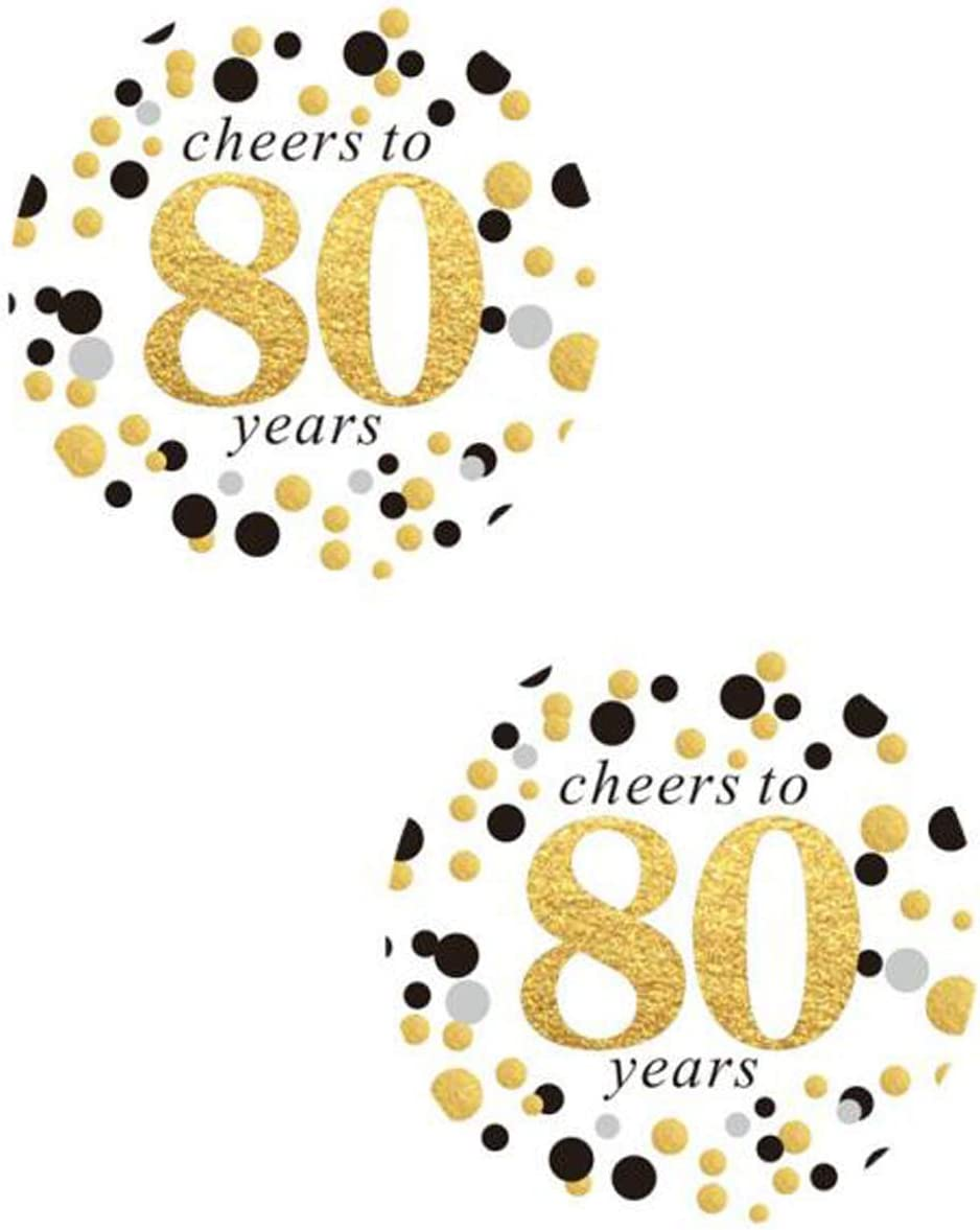 2 Round 50 Pack of Cheers to 80 Years Label Stickers Birthday Party Sticker Labels 80th Birthday Party Favor Stickers 80th Birthday Party Decoration