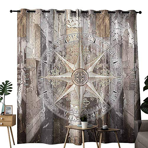 Rudder Track Smart - Mannwarehouse Marine Life Curtain for Kids Navy Sea Life Yacht Theme Colored Wood Backdrop with Rudder Like Compass Image Darkening and Thermal Insulating W120 x L84 Brown