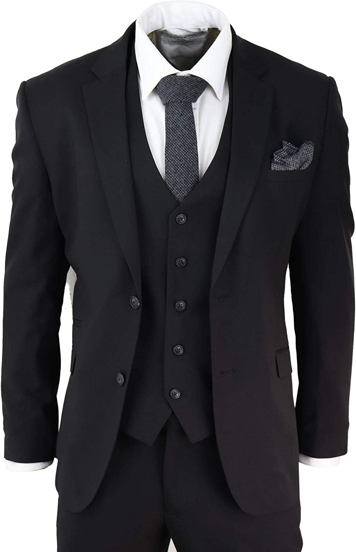 Mens Black 3 Piece Suit Classic Short Regular Long Smart Formal Tailored Fit