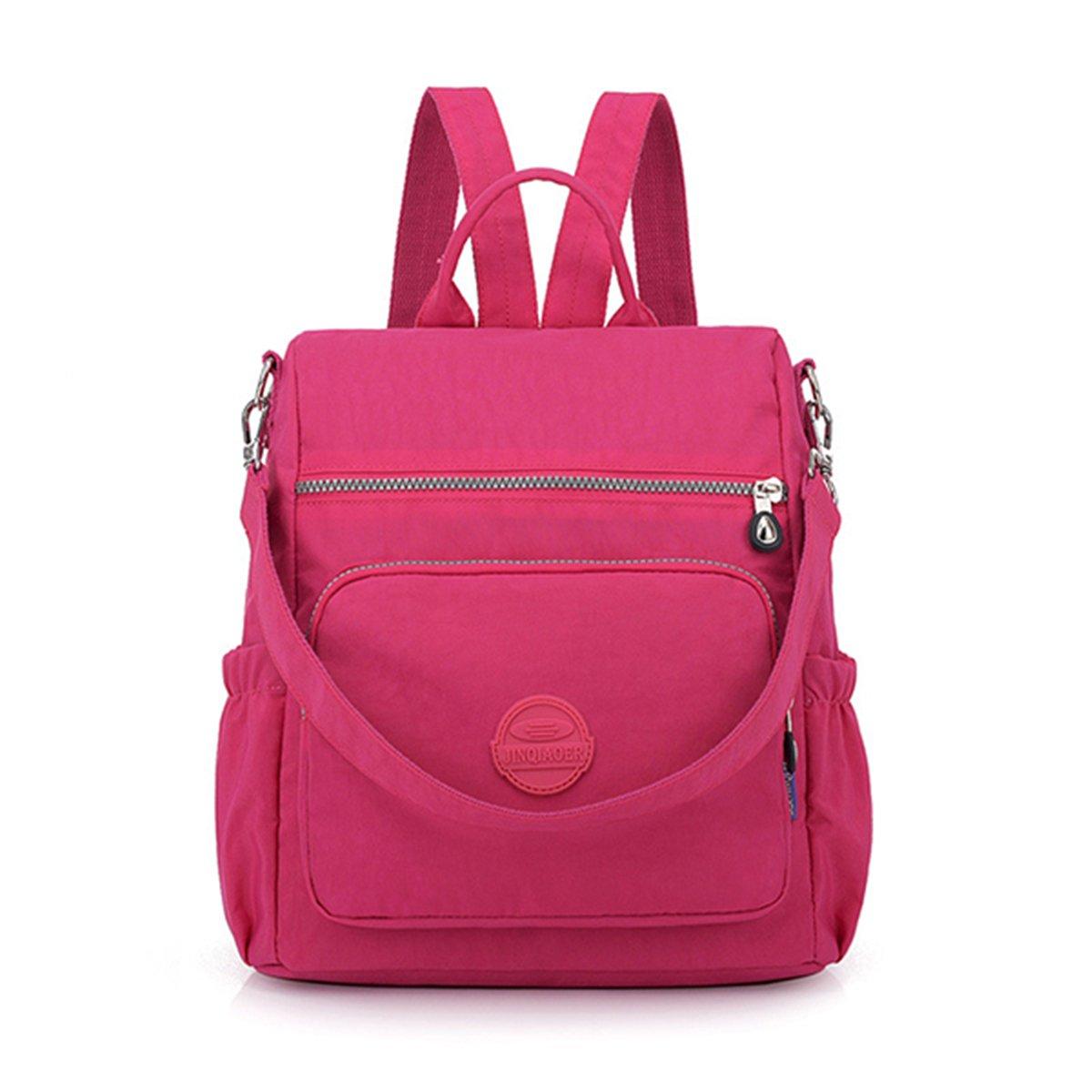 Women Nylon Backpack, JOSEKO Multi-Function Rucksack Anti-Theft Waterproof Shoulder Bag Black
