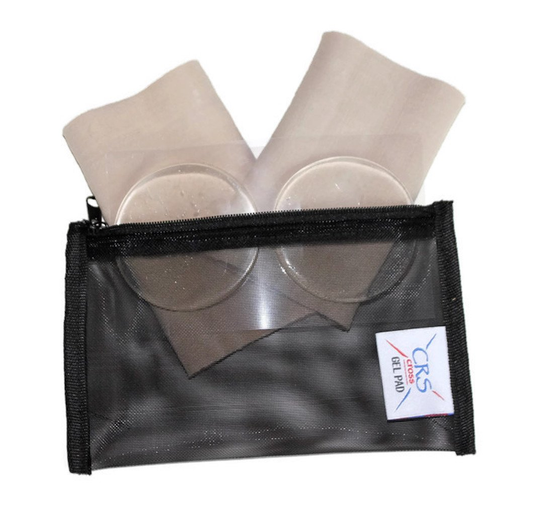 CRS Cross Gel Pad 2 Ankle Gel Sleeves and 2 Ankle Discs for Skating Boot (Figure skating, Ice hockey, roller, inline, hiking, riding, ski or tall boots) with Bag by (2 Gel Sleeves, 2 Gel Disks & Bag)