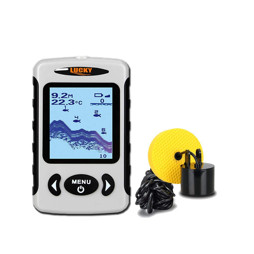 Lucky Portable Fish Finder, Depth Finder with Adjustable Dual Beams(60°and 20°) 100M/328FT Detecting Range, Fishfinder Fishes with Alarm Sensor Transducer for Ice Fishing, Boat Fishing, Sea Fishing.