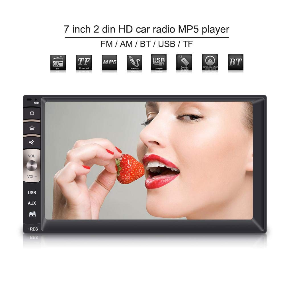 Bluetooth Autoradio 7inch 2 Din HD Bluetooth St/ér/éo FM MP5 avec /Écran Tactile MP5 Player avec Cam/éra de Vision Arri/ère Support USB//TF Port Aux Input AM//FM Radio Digital HD Multimedia Radio Entertain