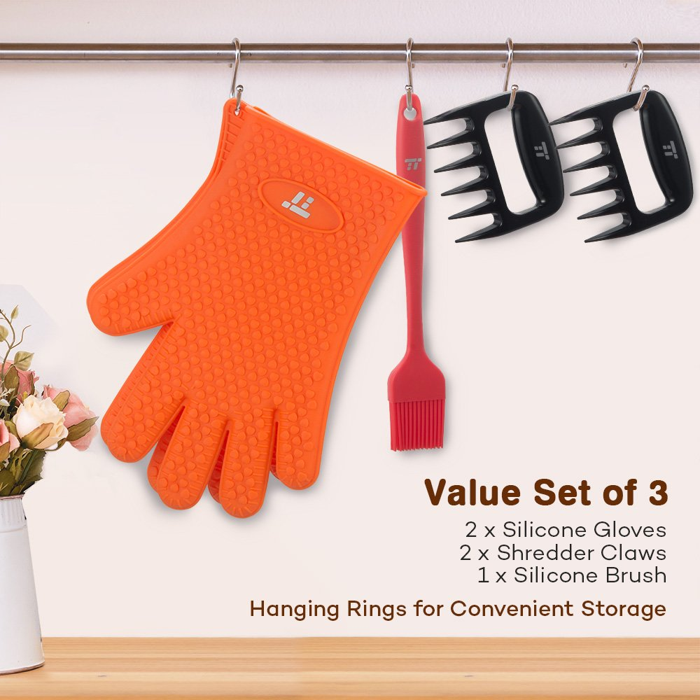 BBQ Gloves Heat Resistant, TaoTronics Meat Shredder Silicone and BBQ Brush, Grill Accessories, Perfect for Shredding Smoked Meat & Pulled Pork, Dishwasher Safe, FDA Approved by TaoTronics (Image #6)