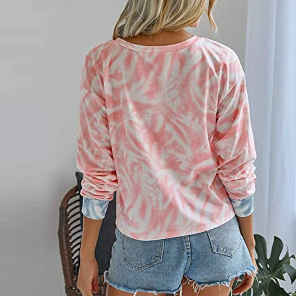 Toraway 2020 Womens Fashion Pullover Casual Tie-Dye Crewneck Long Sleeve Loose Pullover Tops Casual fit Shirt