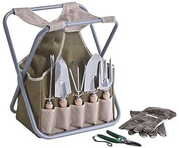 Zeller 16003 Ensemble d\'outils de jardinage avec panier et tabouret ...