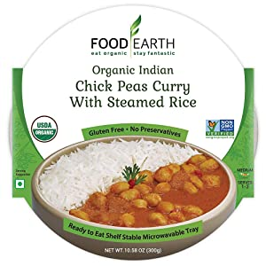 Food Earth Organic Indian Chick Pea Curry with Steamed Rice - Ready to Eat Meals - Indian Food - Organic Microwaveable Meals - Pre Prepared Meals - (6 PACK)
