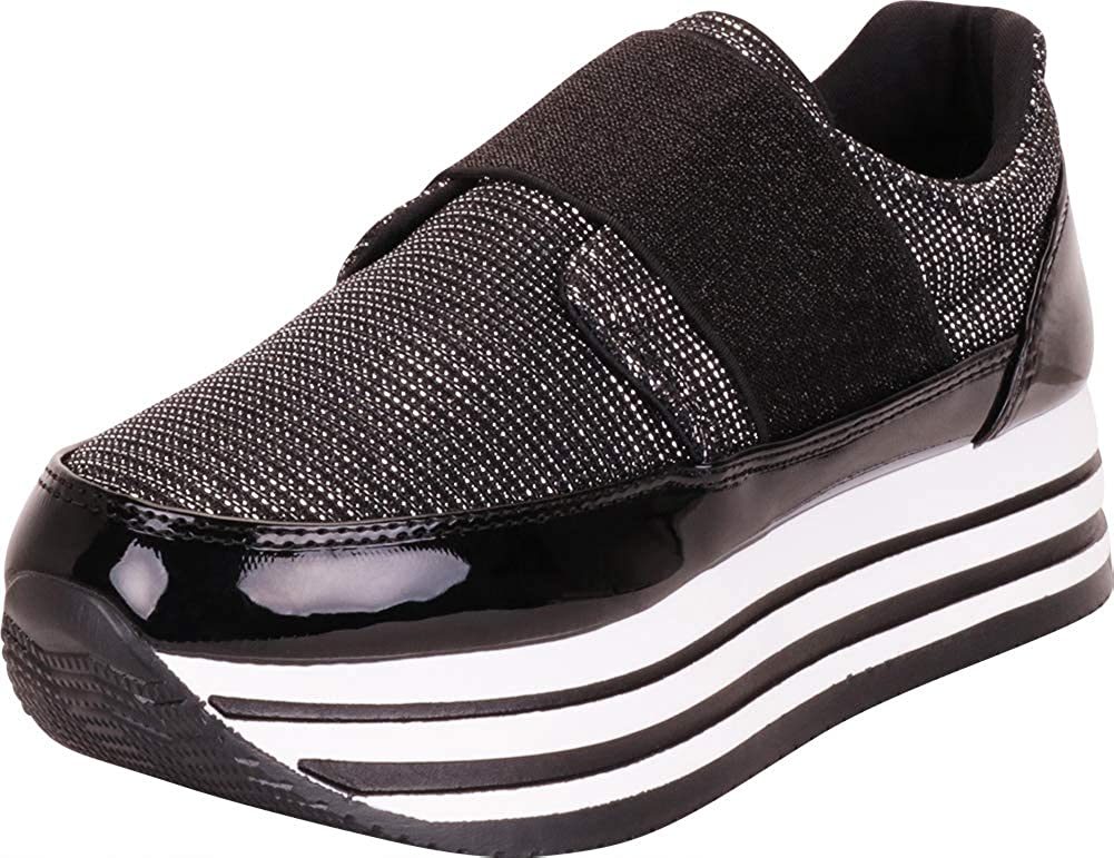 Black Cambridge Select Women's Glitter Stretch Slip-On Chunky Striped Flatform Fashion Sneaker