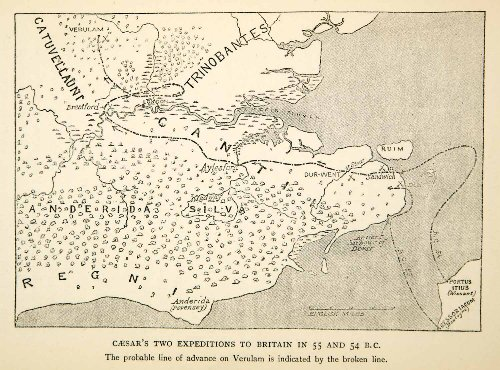 1915-print-map-julius-caesar-gallic-wars-roman-empire-military-invasion-britain-original-halftone-pr
