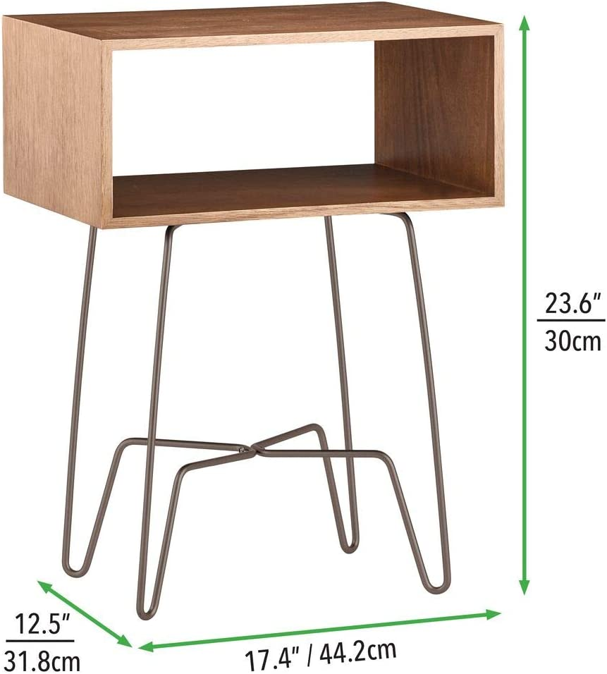mDesign Modern Farmhouse Side/End Table - Open Storage Shelf Basket, Hairpin Legs, Wooden Top - Sturdy Vintage, Rustic, Industrial Home Decor Accent Furniture for Living Room, Bedroom - Brown/Bronze