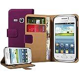 Membrane - Lila Brieftasche Klapptasche Hülle Samsung Galaxy Young (GT-S6310 / S6312 Dual / S6310N / S6310L) - Flip Case Cover + 2 Displayschutzfolie