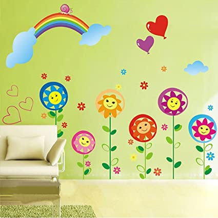 Sun flower smiley under the rainbow kids room removable cartoon wall sticker decals