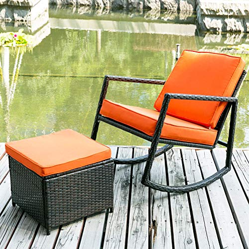 Merax WF036008GAA Patio Wicker Rocking Armed Outdoor Garden Lounge Ottoman (Cushion Orange) Rattan Rocker Chair